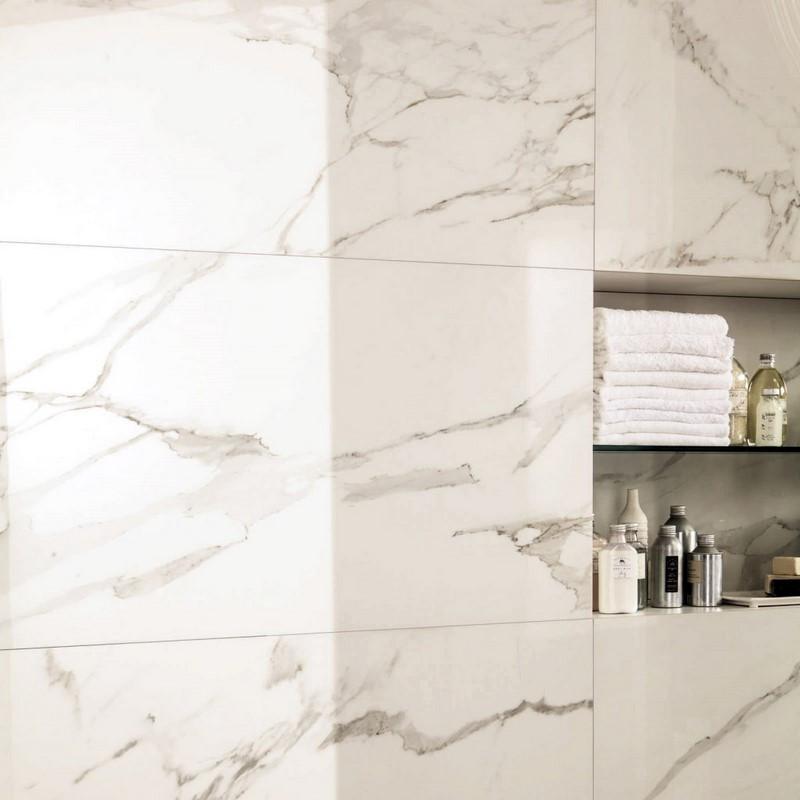 Carrelage imitation marbre salle de bains