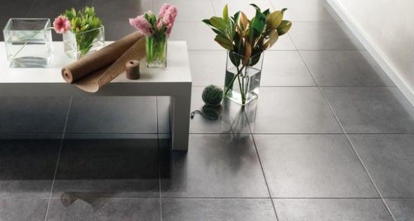 Carrelage gris 50x50 salon cuisine buanderie